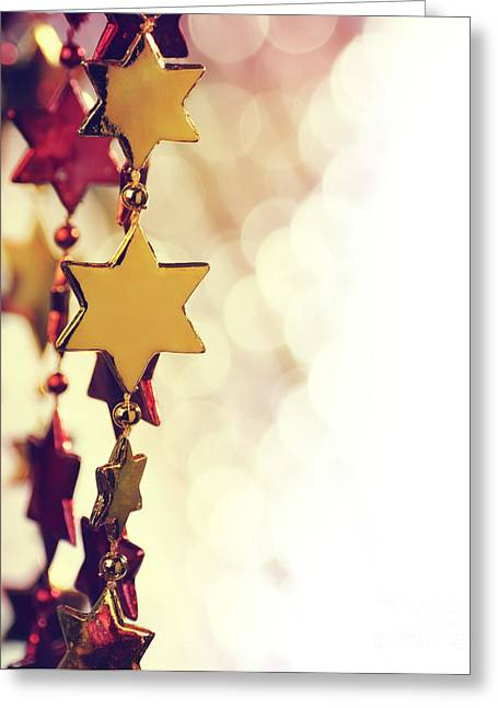 New Year Greeting Cards - Holiday Background Greeting Card by Jelena Jovanovic