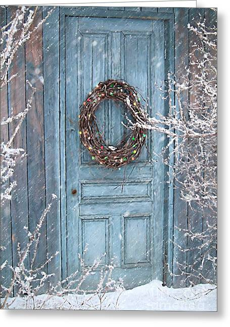 Barn Door And Holiday Wreath/digital Painting Greeting Card by Sandra Cunningham