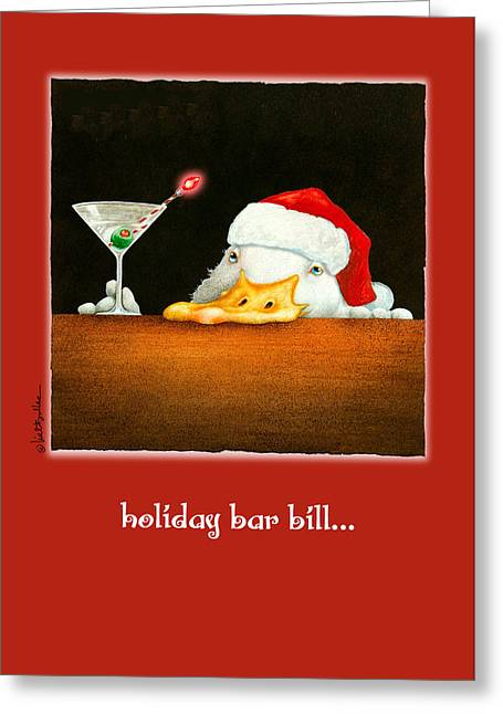 Indian Runner Duck Greeting Cards - Holiday Bar Bill... Greeting Card by Will Bullas
