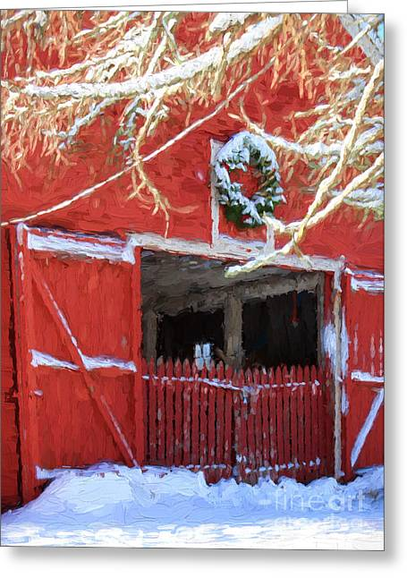 Sudbury Ma Photographs Greeting Cards - Holiday Barn Greeting Card by Jayne Carney