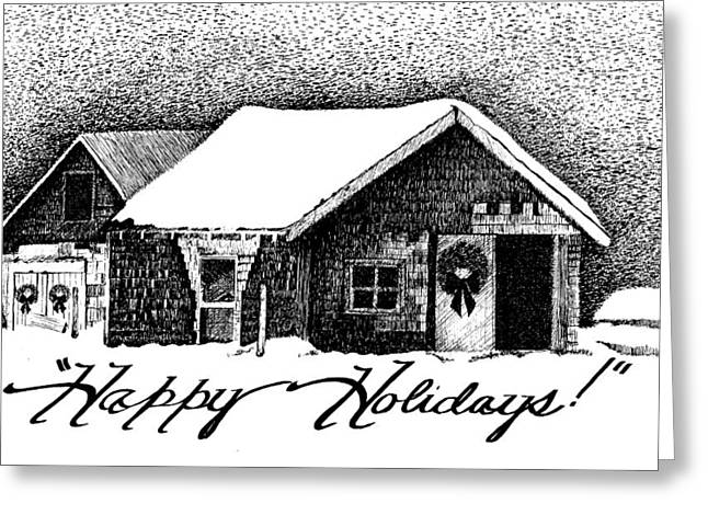 Barn Pen And Ink Greeting Cards - Holiday Barn Greeting Card by Joy Bradley