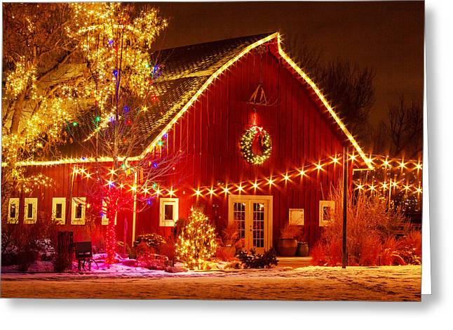 Snow On The Ground Greeting Cards - Holiday Barn Greeting Card by Teri Virbickis