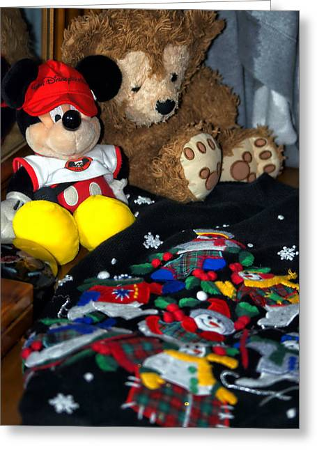 Town Square Greeting Cards - Holiday Bear Greeting Card by Thomas Woolworth