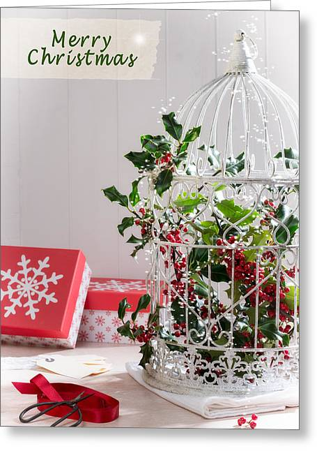 Labelled Greeting Cards - Holiday Birdcage Greeting Card by Amanda And Christopher Elwell
