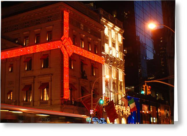 Store Fronts Greeting Cards - Holiday Bustle New York City Greeting Card by Terry DeLuco