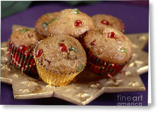 Party Food Greeting Cards - Holiday Candies Fruit Muffins Greeting Card by Iris Richardson