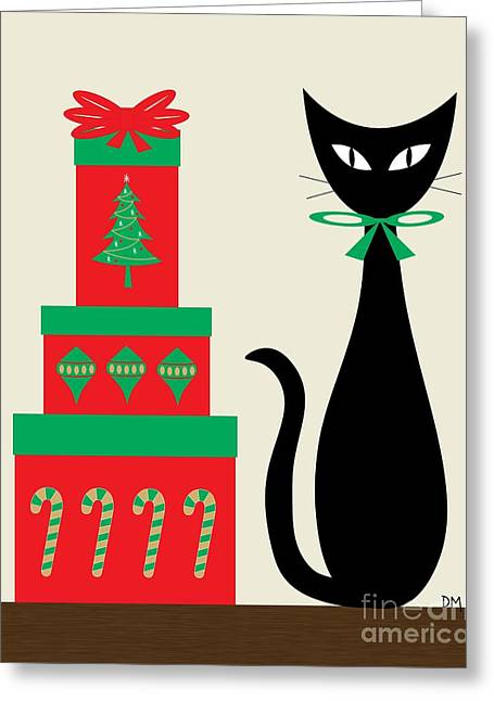Christmas Art Greeting Cards - Holiday Cat 2 on Cream Greeting Card by Donna Mibus