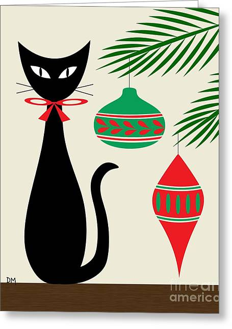 Christmas Art Greeting Cards - Holiday Cat on Cream Greeting Card by Donna Mibus