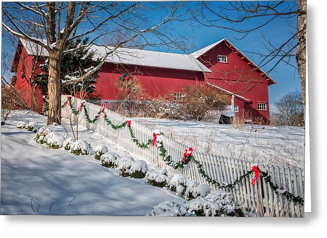 Christmas Cheer Greeting Cards - Holiday Cheer - Southbury Connecticut Barn Greeting Card by Thomas Schoeller
