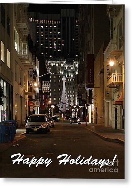 Union Square Greeting Cards - Holiday Christmas Card . Maiden Lane San Francisco Greeting Card by Wingsdomain Art and Photography