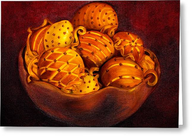 Lemon Art Greeting Cards - Holiday Citrus Bowl  Greeting Card by Iris Richardson