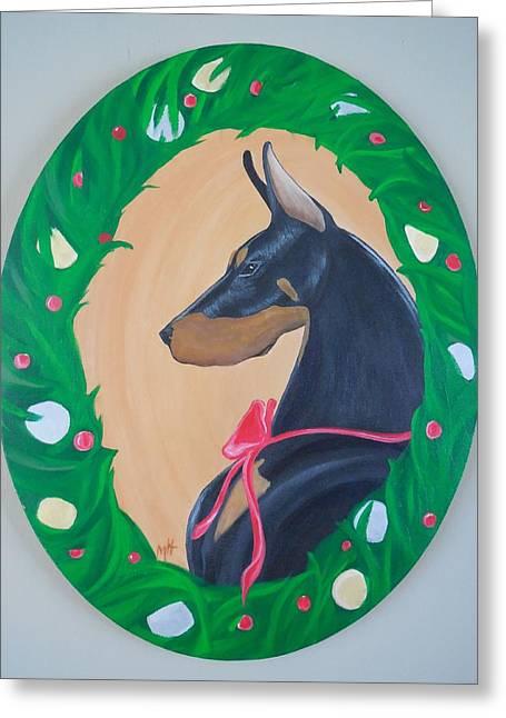 Doberman Pinscher Puppy Greeting Cards - Holiday Doberman Greeting Card by Megan Leppert