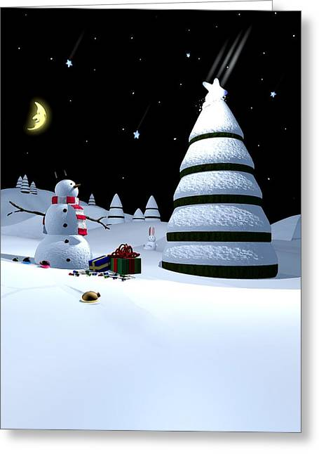 Snowman Christmas Card Greeting Cards - Holiday Falling Star Greeting Card by Cynthia Decker