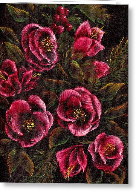 Open Window Paintings Greeting Cards - Holiday Flowers Greeting Card by Ronald Chambers