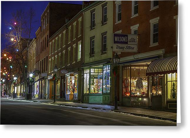 Main Street Greeting Cards - Holiday Front Greeting Card by David Hufstader