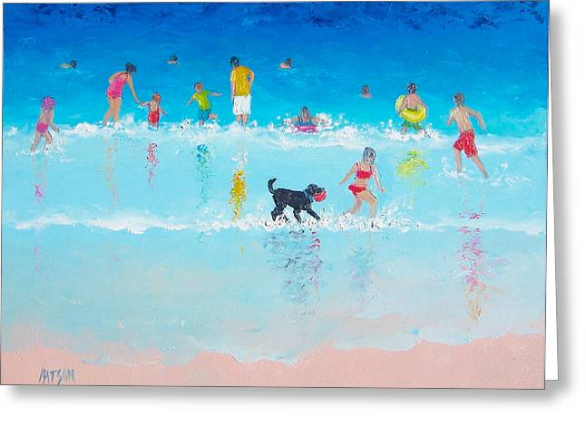 People On Beach Greeting Cards - Holiday Fun Greeting Card by Jan Matson