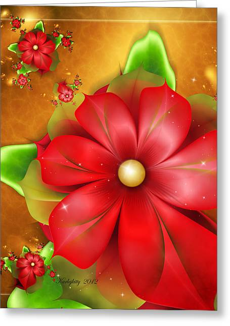 Karlajkitty Digital Art Greeting Cards - Holiday Glow Greeting Card by Karla White