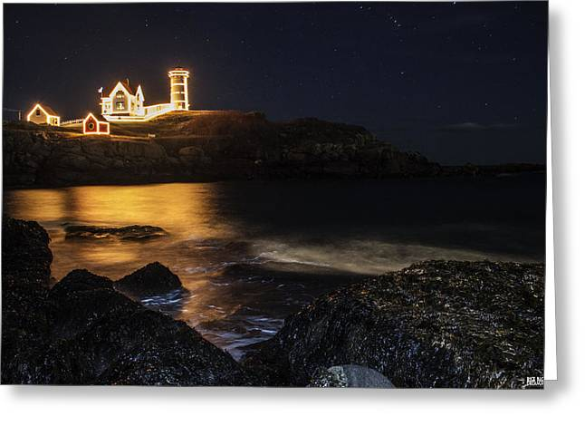 Cape Neddick Lighthouse Greeting Cards - Holiday Glow Greeting Card by Rick  Blood