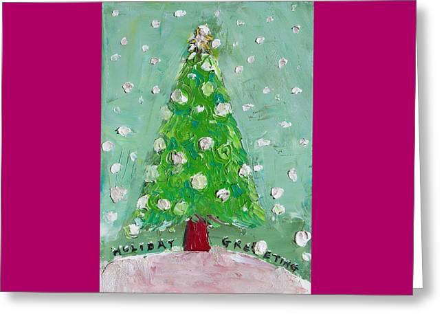 Holiday Greeting Greeting Card by Becky Kim