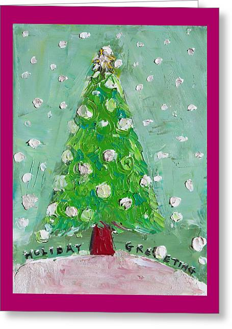 Pallet Knife Greeting Cards - Holiday Greeting Greeting Card by Becky Kim