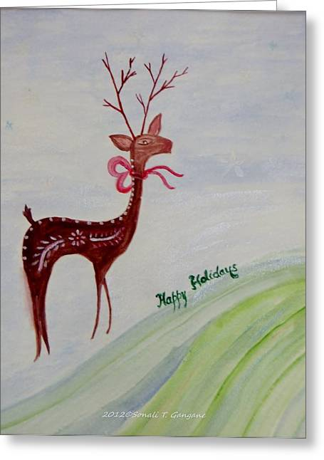 Rudolph Paintings Greeting Cards - Holiday greetings Greeting Card by Sonali Gangane