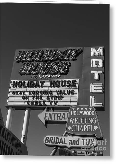 Las Vegas Greeting Cards - Holiday House Motel Las Vegas 2013 Greeting Card by Edward Fielding