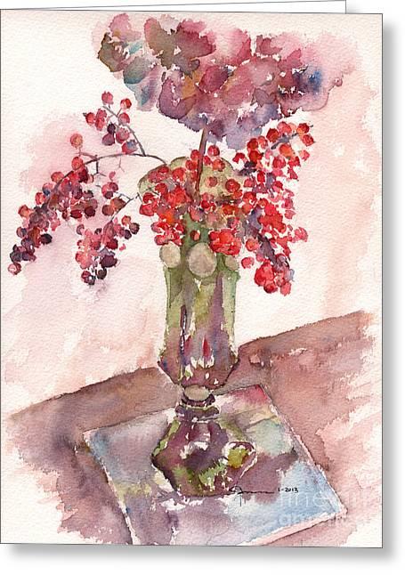 Hafner Greeting Cards - Holiday Hydrangea Greeting Card by Claudia Hafner