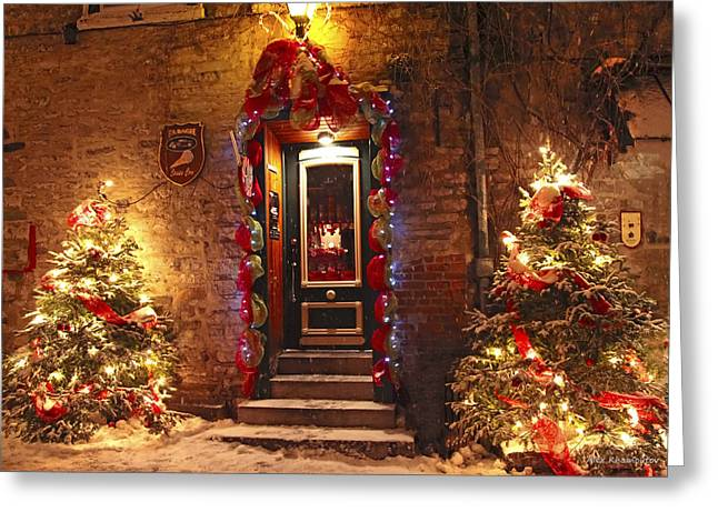 Chaplain Greeting Cards - Holiday in Quebec City - Rue du Petit Chaplain Lights Greeting Card by Alex Khomoutov