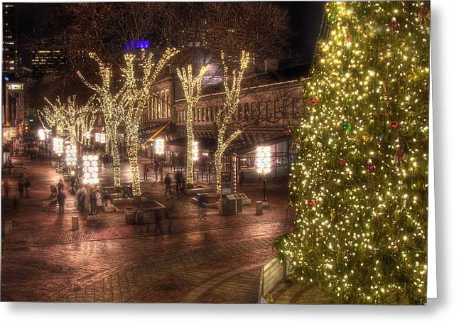 Night Scenes Greeting Cards - Holiday in Quincy Market Greeting Card by Joann Vitali
