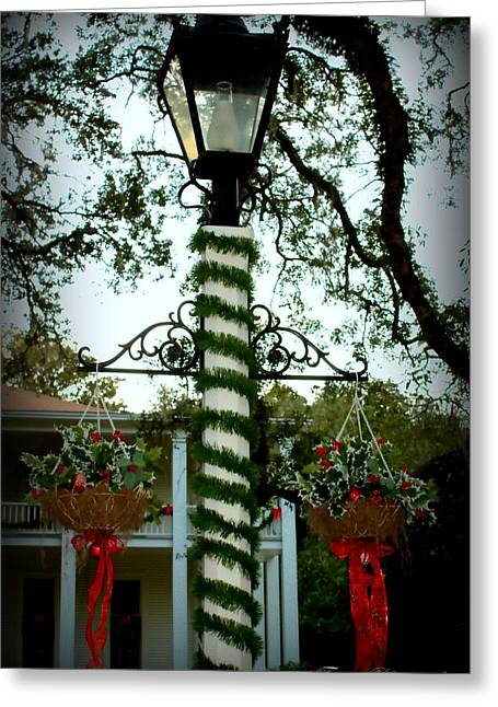 Holiday Lamp Post Greeting Card by Debra Forand