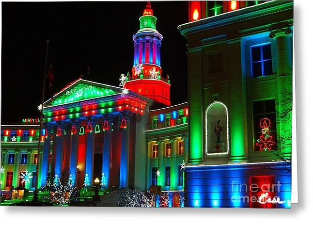 Christmas Art Greeting Cards - Holiday Lights 2012 Denver City and County Building A2 Greeting Card by Feile Case