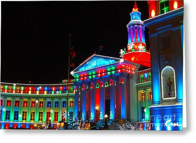 Feile Case Greeting Cards - Holiday Lights 2012 Denver City and County Building C5 Greeting Card by Feile Case