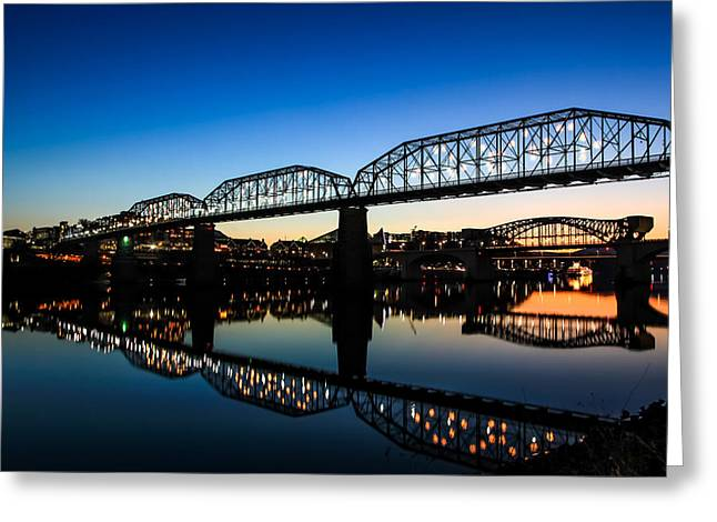 Tennessee River Greeting Cards - Holiday Lights Chattanooga Greeting Card by Tom and Pat Cory