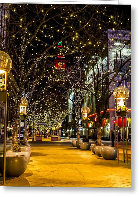 Holiday Lights In Denver Colorado Greeting Card by Teri Virbickis