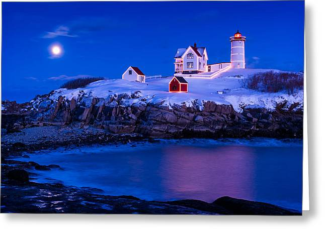 Lighthouse Greeting Cards - Holiday Moon Greeting Card by Michael Blanchette
