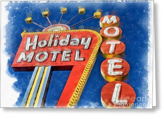 Neon Sign Greeting Cards - Holiday Motel Classic Neon  Greeting Card by Edward Fielding