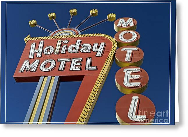 Vegas Greeting Cards - Holiday Motel Las Vegas Greeting Card by Edward Fielding