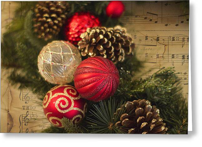 Wreath Greeting Cards - Holiday Music Greeting Card by Rebecca Cozart