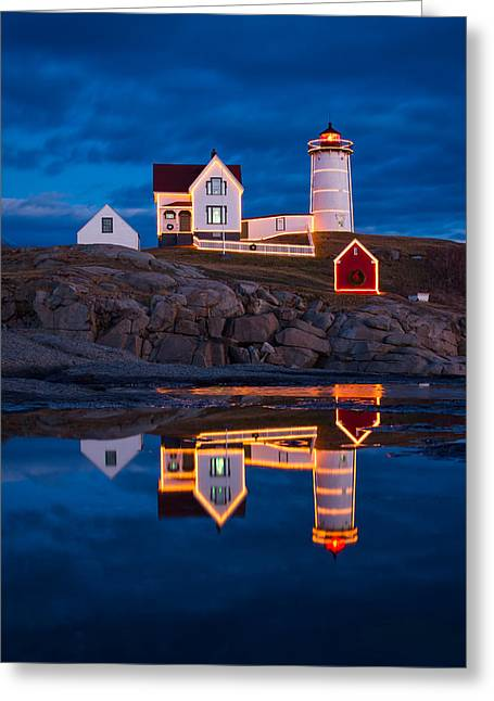 Cape Neddick Greeting Cards - Holiday Reflection Greeting Card by Michael Blanchette