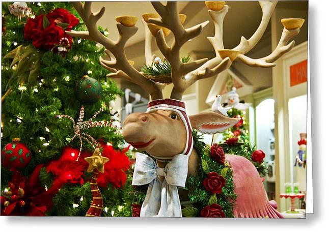 White Beard Greeting Cards - Holiday Reindeer Greeting Card by Jon Berghoff