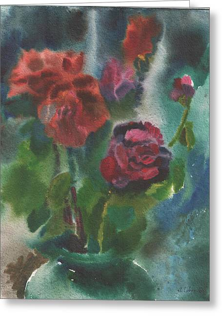 Holiday Roses Greeting Card by Anna Lobovikov-Katz