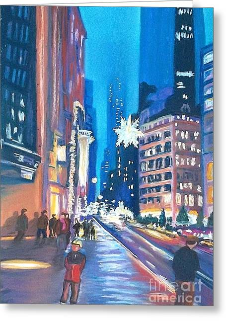 City Life Pastels Greeting Cards - Holiday Season in NYC Greeting Card by Frank Giordano