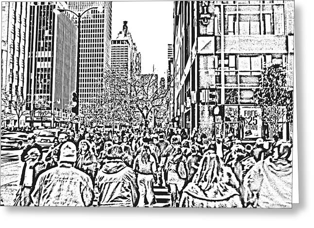 Magnificent Mile Digital Art Greeting Cards - Holiday Shopping Greeting Card by Neil Zimmerman