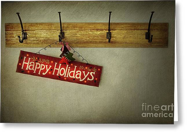 Texting Photographs Greeting Cards - Holiday sign on antique plaster wall Greeting Card by Sandra Cunningham