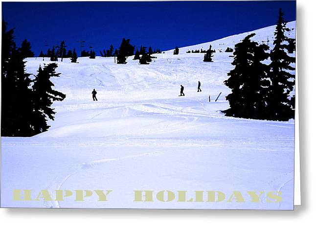 HOLIDAY SKIERS AT MT HOOD  OREGON Greeting Card by Glenna McRae