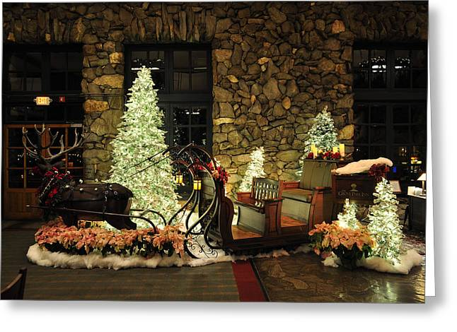 Grove Park Inn Digital Greeting Cards - Holiday Sleigh HSP Greeting Card by Jim Brage