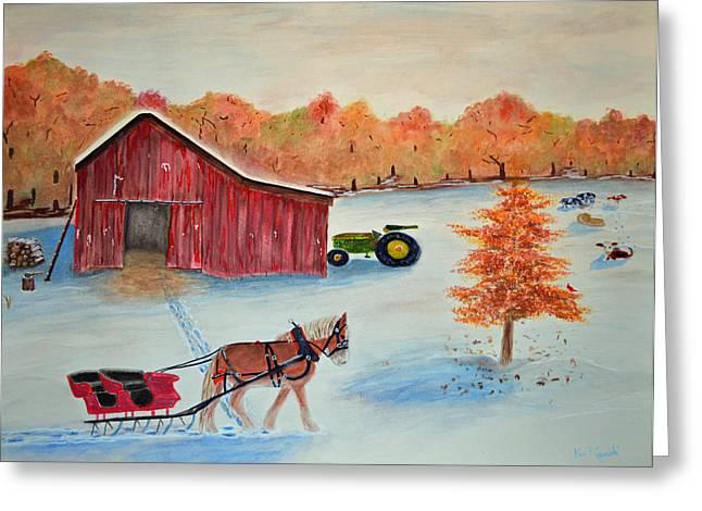 Kinkade Greeting Cards - Holiday sleigh ride Greeting Card by Ken Figurski
