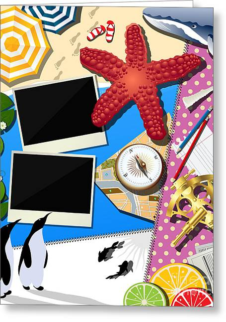 Lemon Art Digital Art Greeting Cards - Holiday summer collage Greeting Card by Richard Laschon