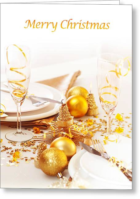 Banquet Greeting Cards - Holiday table setting Greeting Card by Anna Omelchenko