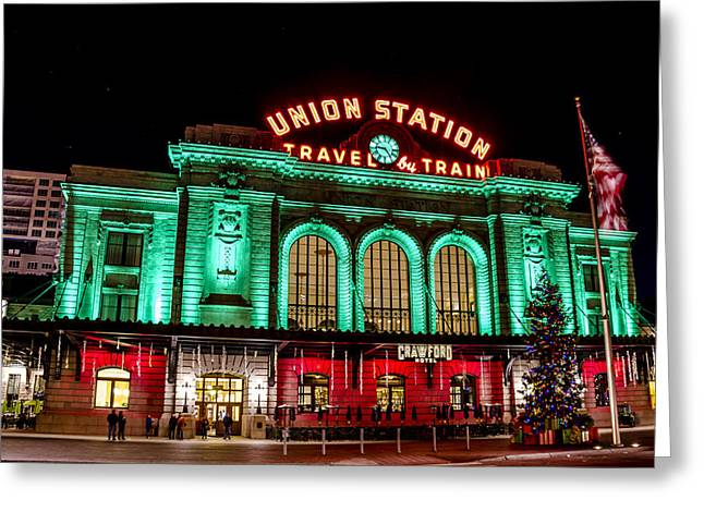 Winter In The City Greeting Cards - Holiday Union Station in Denver CO Greeting Card by Teri Virbickis